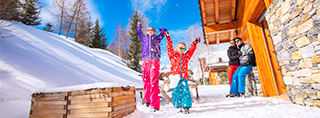 Winter holidays chalet skier